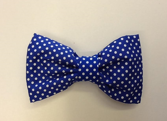 Royal Blue and White Spot Bow Tie
