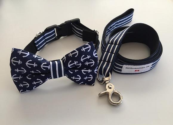 Nautical & Navy White Stripe BowTie Collar & Lead