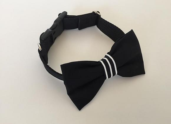 Black Bow Tie Collar & Black & White Stripe Centre