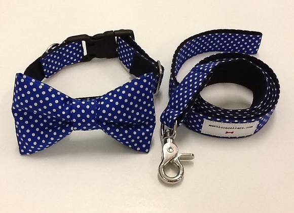 Royal Blue & white Spot Bow Tie Collar & Lead