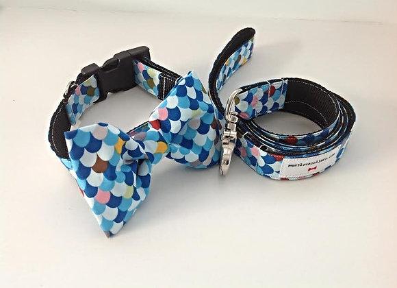 Multi Colour Bow Tie Collar & Lead