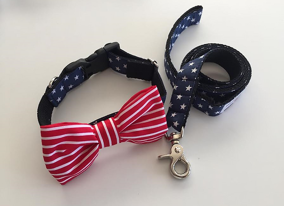 Navy Star & Red & White Stripe Bow Tie & Lead