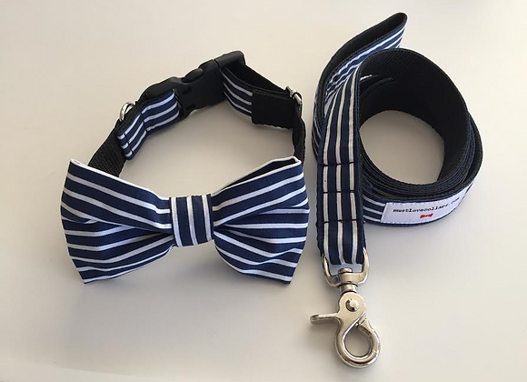 Navy & White Stripe Bow Tie Collar & Lead
