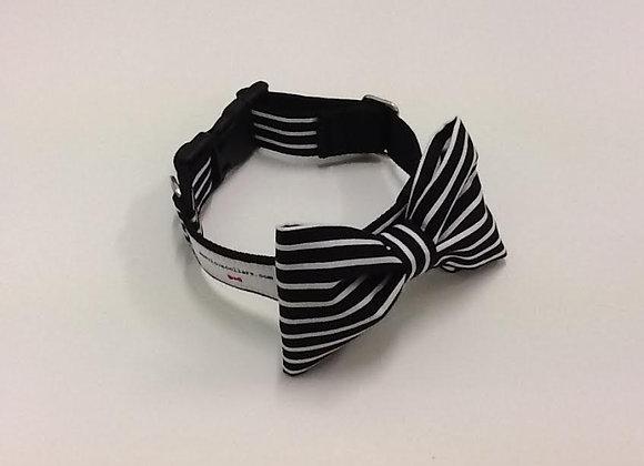 Black & White Stripe Bow Tie Collar