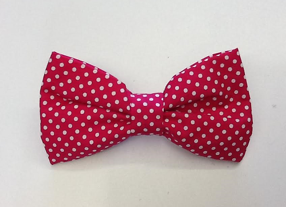 Pink and White Spot Bow Tie