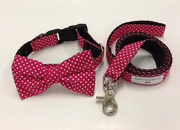 Pink & White Spot Bow Tie Collar & Lead