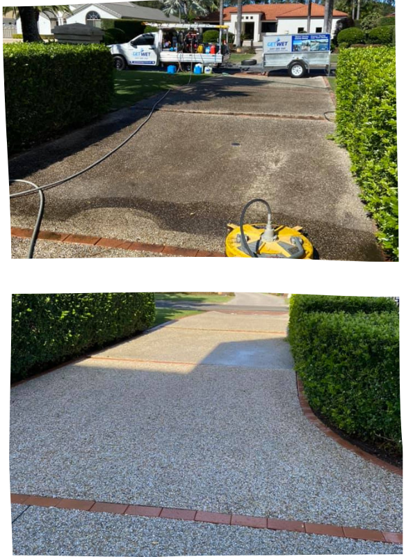 a double image displaying a driveway before and after pressure washing