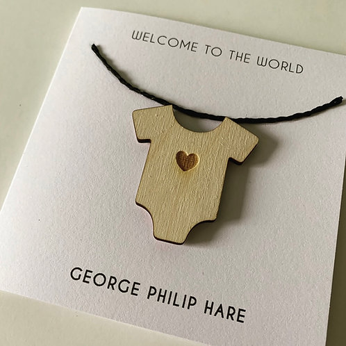 Personalised New Baby Card Birch Ply 3D Babygrow Topper Card