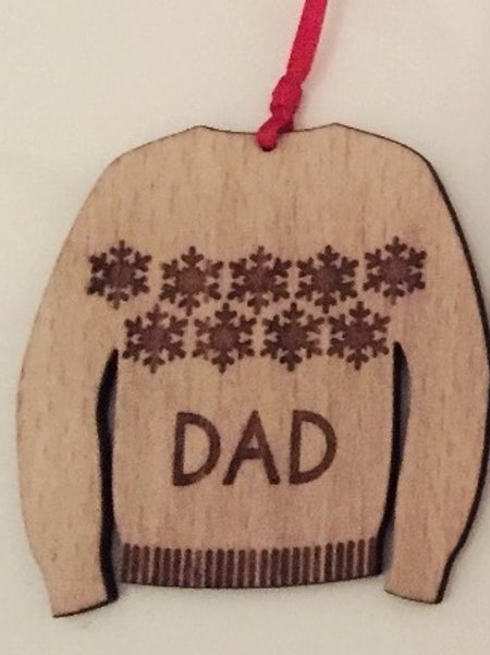 4 Pack Personalised Laser Cut & Engraved Wooden Christmas Jumper Gift Tags