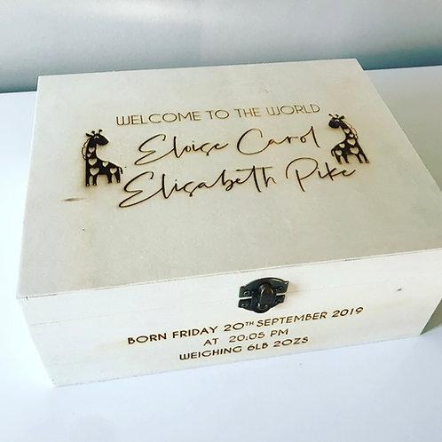 Script Personalised Engraved Wooden New Baby Keepsake Box Large