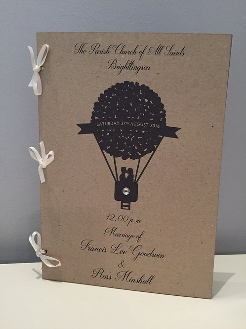 Pack Of 10 Heart Balloon Personalised Order Of Service Booklet A5 Kraft Brown