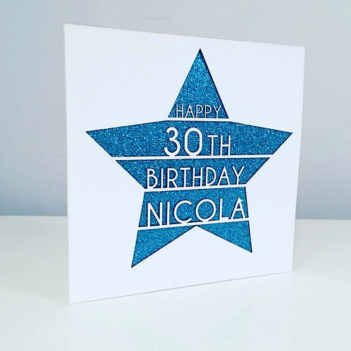 Laser Cut Star Personalised Birthday Card