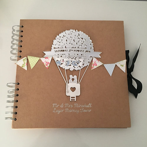 Personalised Mirrored Acrylic Laser Cut Heart Balloon Wedding Guest Book