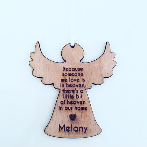 Engraved Angel Memorial Christmas Decoration (personalisation available)