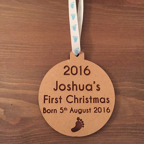 Engraved Personalised Baby's First Christmas 2016 Wooden Bauble