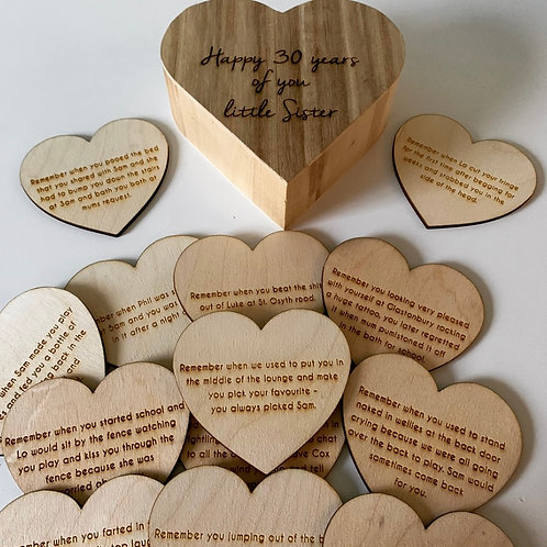 'Reasons Why I Love You' or Memories Personalised Engraved Wooden Heart Set