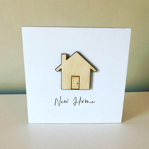 New Home Birch Ply 3D Topper Card With Personalised Text