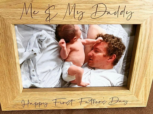 Dad Personalised Engraved Dark Veneer Photo Frame