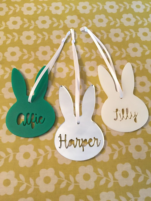Laser Cut Personalised Name Easter Bunny Decorations