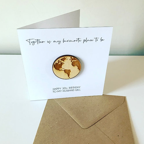 World Birch Ply 3D Globe Topper Card With Personalised Text