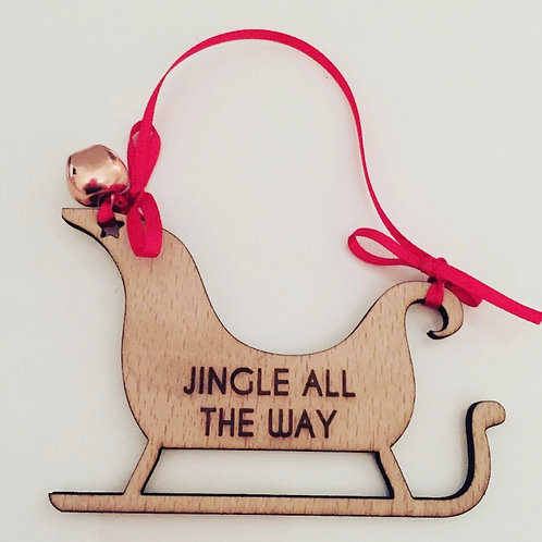Laser Cut & Engraved Wooden Sleigh Christmas Decoration With Jingle Bell