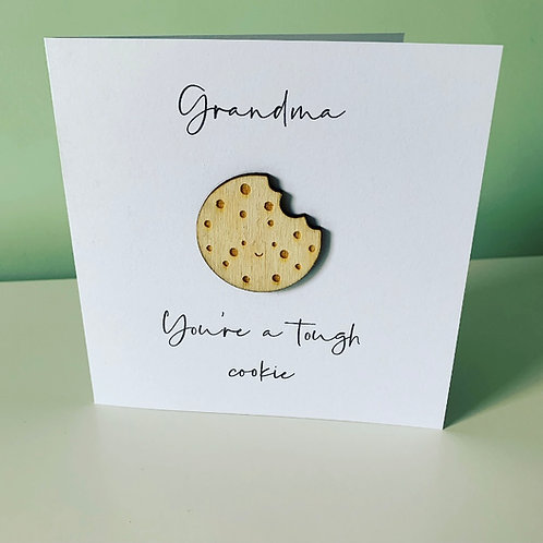 Tough Cookie Birch Ply 3D Topper Card With Personalised Text