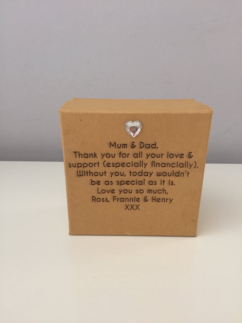 Personalised Engraved Square Gift Favour Box
