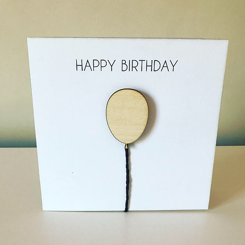 Birthday Birch Ply 3D Balloon Topper Card With Personalised Text