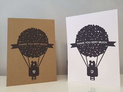 Pack Of 10 Heart Balloon Design Personalised Thank You Card