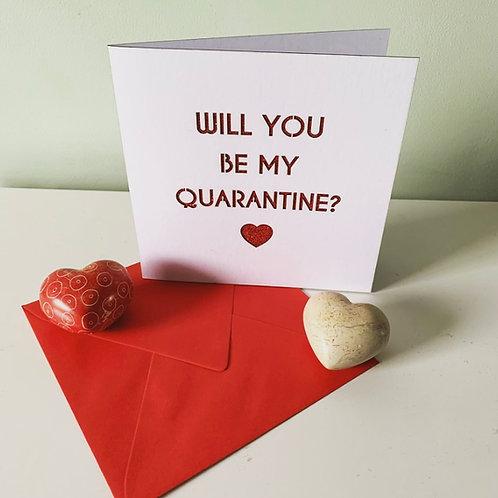 White & Red Glitter Quarantine Valentine's Day Card
