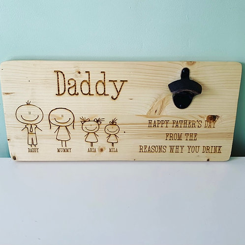 Personalised Wall Mounted Family Bottle Opener For Indoor and Outdoor Use