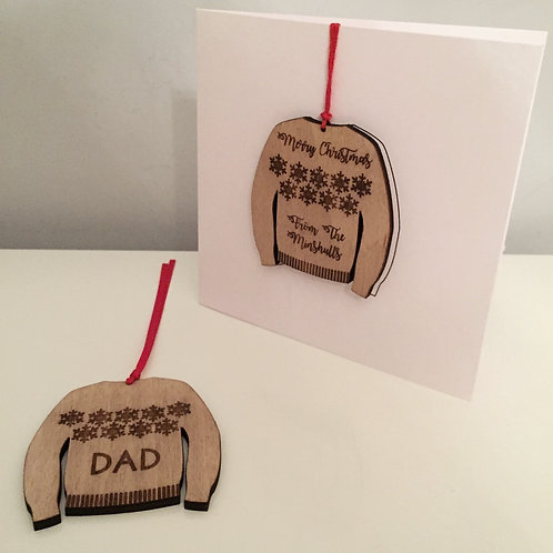 Individual Laser Cut Personalised Engraved Wooden Christmas Jumper Card