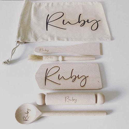 Personalised Mini Baking Set In Tote Bag