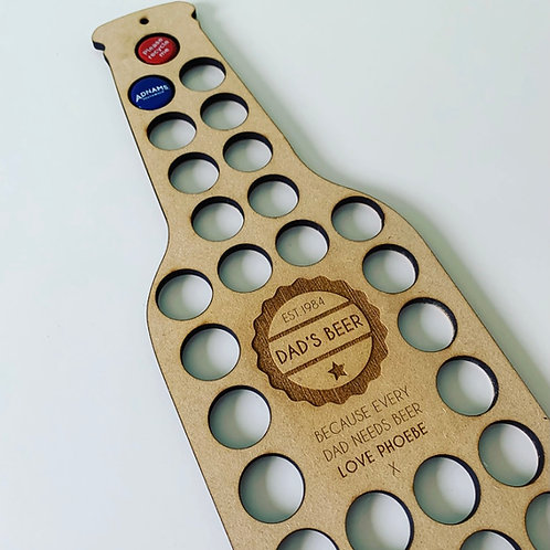 Personalised Wall Mounted Bottle Top Display for Beer Enthusiast