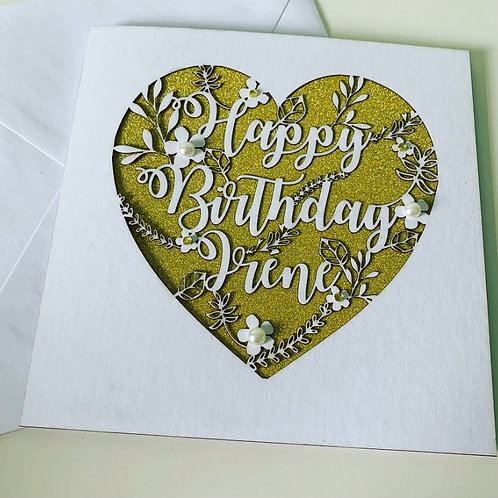 Laser Cut Heart Floral Birthday Card With Personalised Text and Diamanté