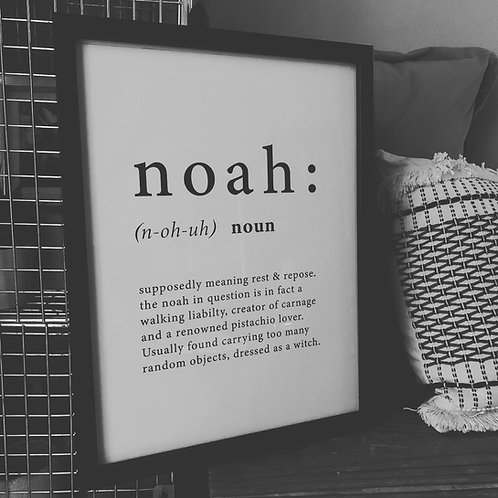 Monochrome Personalised Name Definition Typographic Print Framed or Unframed