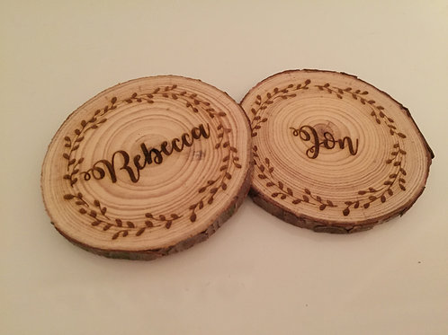 Personalised Engraved Wooden Tree Slice Coaster Name Place Setting