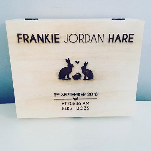Personalised Engraved Wooden New Baby Keepsake Box Large