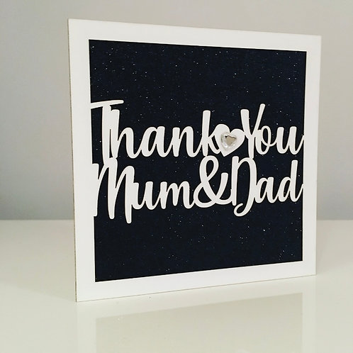 Laser Cut Thank You Card With Personalised Text