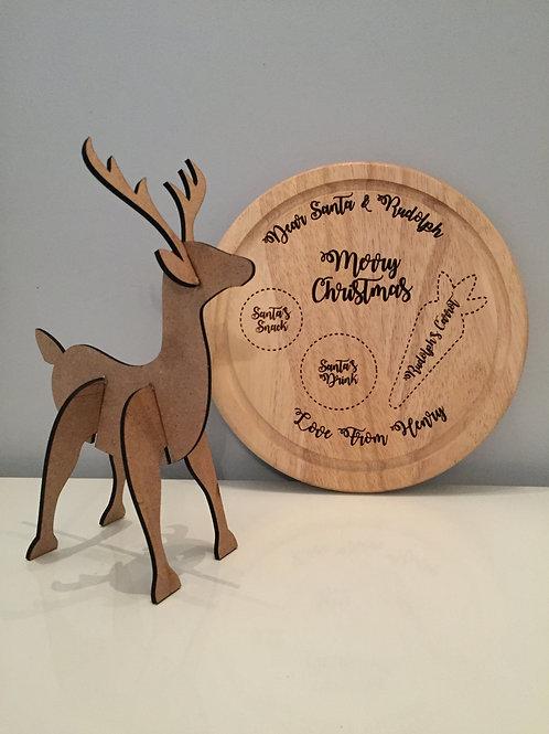 Personalised Engraved Santa & Rudolph Christmas Eve Board