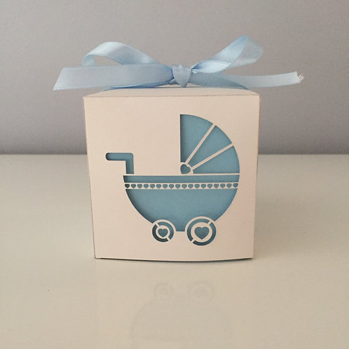 Pack Of 10 Laser Cut Pram Square Baby Shower Favour Box 6.5 cm