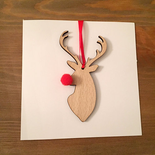 Individual Laser Cut Wooden Reindeer Stag Pom Pom Decoration Christmas Card