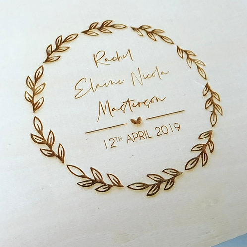 Leaf Design Personalised Engraved Wooden New Baby Keepsake Box Large