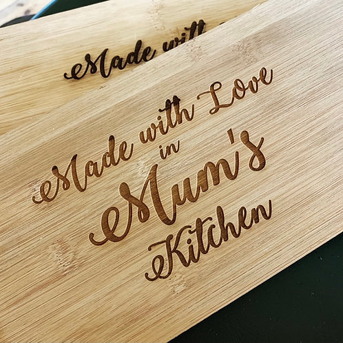 Made With Love In Mum / Grandma's Kitchen Engraved Chopping Paddle Board