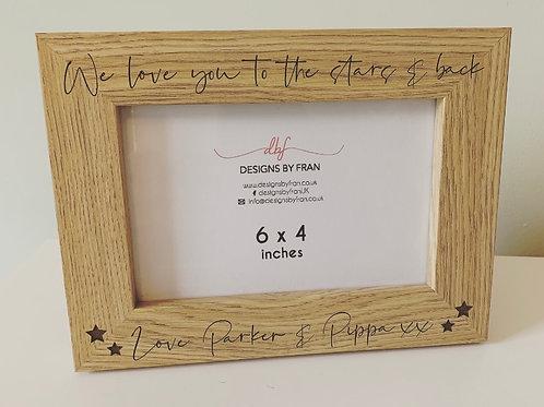 Personalised Love You To The Stars Engraved Dark Veneer Photo Frame