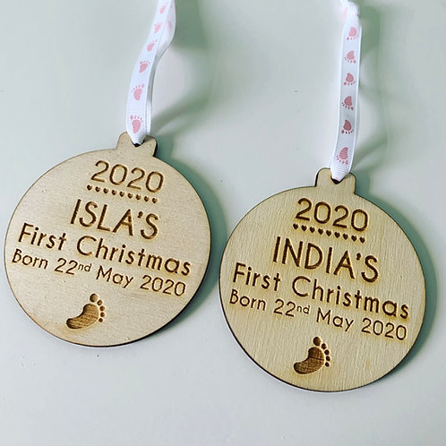 Engraved Personalised Baby's First Christmas Birch Ply Bauble
