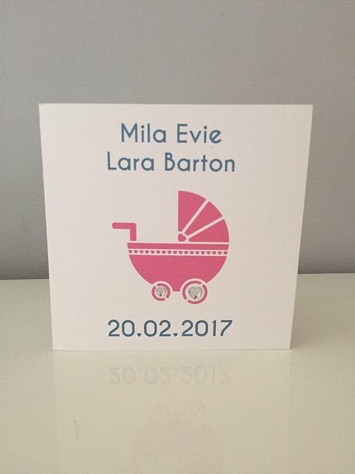 Personalised Printed Pram Design New Baby Card In Pink Or Blue