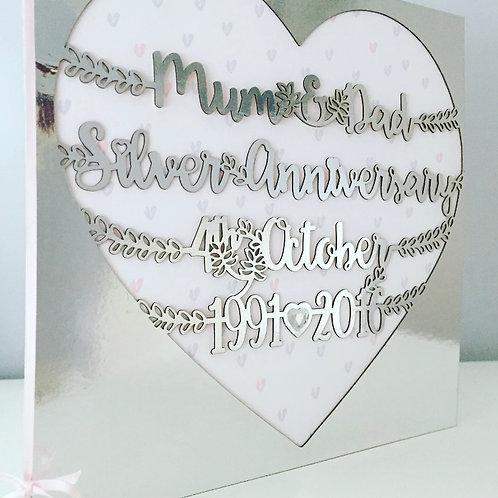Personalised Laser Cut Keepsake Special Anniversary Card Large