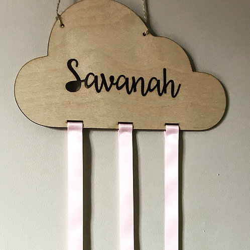 Cloud Birch Plywood Personalised Hanging Girls Bow Accessories Holder