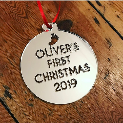 Laser Cut Perspex Personalised Christmas Bauble Decoration Any Text You Like!